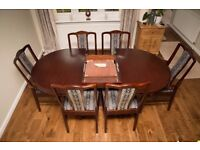 Mahogany Dining Table Varnish brass Claw feet % Castors Dining Table Gold Leaf 6 Chairs (2 carver)