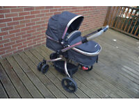 MOTHERCARE ORB PRAM AND PUSHCHAIR, MAXI COSI CAR SEAT AND ACCESSORIES