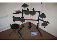 Yamaha DTXPRESS II electronic drum kit complete with Stool + Headphones and Drum Sticks