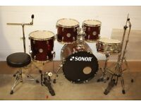 "Sonor Force 505 Wine Red 5 Piece Complete Drum Kit (20"" Bass) with stands and stool and cymbal set"