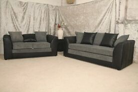 UK EXPRESS DELIVERY | DYLAN JUMBO CORD BLK/GREY SOFA | 1 YEAR WARRANTY | SPRING BASE | FOAM CUSHION