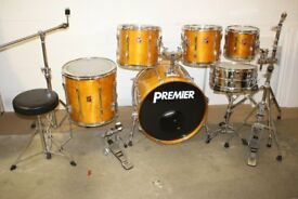Premier XPK 1990s Natural Lacquer / Topaz 6 Piece Full Drum Kit (22in Bass) + All Hardware + Cymbals
