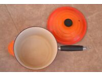 2.5 pint Le Creuset Orange Saucepan with Lid and wooden handle