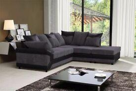 Brand New Furniture--DINO JUMBO CORD FABRIC CORNER SOFA SUITE - 3 and 2 SEATER