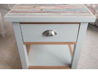 Upcycled shabby chic blue bedside ; bedroom; accent side table with drawer and 2 tiers
