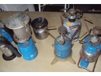 3 Gas camping stoves and 1 Lantern and 2 Gas burners and Gas