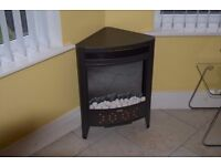 Electric Fire, Stove type, Triangular frame, suit corner, 1.7kW, 2kW, 25.5in x 18in x 12in, As new