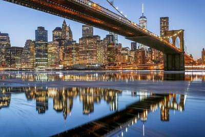 Brooklyn Bridge and New York City Skyline Photo Art Print Poster 24x36 (New York Skyline Photo)