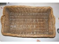 BIG BEAUTIFUL RUSTIC VICTORIAN VINTAGE ANTIQUE HAND MADE WICKER LAUNDRY LOG STORAGE BASKET