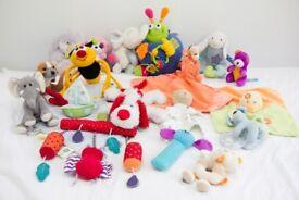 18 Baby Kids Soft Toys Bundle Job Lot + 1 Mamas & Papas Hanging Toy - Can post