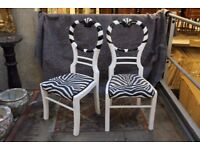Pair of beautiful zebra print chairs