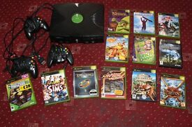 XBOX Original Console Bundle Joblot of 12 Games and 3 Controllers All Cables Good Condition