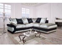"""Brand New Luxury Dino Crushed velvet Left/Right Corner Sofa in Grey and Black""""Express Delivery"""