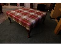 Tartan footstool newly upholstered in high quality wool tartan