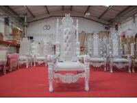1 x New White Rose King Queen Throne Chair Wedding Luxury Hand made French Italian Furniture