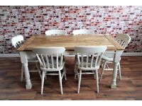 Rustic Farmhouse Extending Dining Table Set Painted Chairs & Benches Up to Twelve Seater