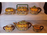 1930's Ann Hathaway's Cottage Tea Set: Teapot + 5 Matched Pieces by Lingard Webster & Co.