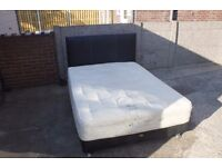 Leather Double Bed with Mattress and Headboard