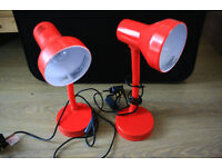 Red desk lamps