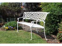 White aluminium garden bench