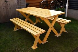 GARDEN FURNITURES, TABLE AND TWO BENCHES FOR SALE HANDMADE