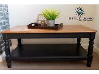 SOLID COFFEE TABLE DUCAL TV STAND INDUSTRIAL CHIC FARMHOUSE SOLID PINE OAK