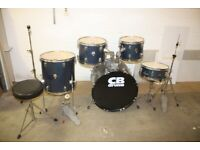 CB Full 5 Piece Beginner Drum Kit Midnight Blue (22in Bass) + All Stands + Stool + Cymbal Set