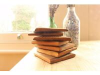 Set of 10 handmade wooden coasters