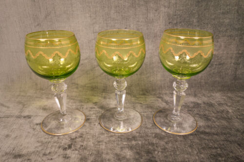 """Antique Rare St. Louis Crystal Chartreuse Beethoven Wine Glasses 5 3/8"""" Set of 3"""