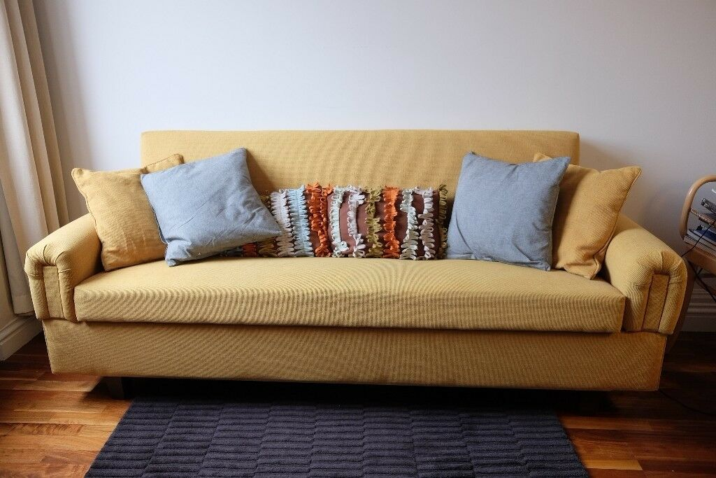 Mustard Yellow Sofa Bed 3-4 seats 204cm with Storage