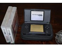 Nintendo DS lite (Black), with charger, case, spare stylus's & 2 games