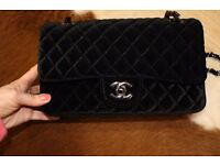 Ladies Velvet Chanel classic bag medium size