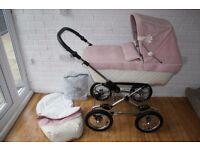 Pink / cream Silver Cross Sleepover Elegance Classic pram pushchair ***can post***