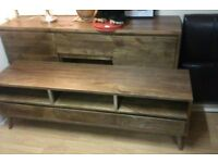 walnut large solid tv unit and sideboard and coffee table