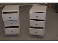 Two x Three-Drawer Bedside Cabinets