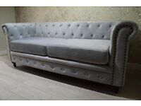 Brand New England Style Chesterfield Velvet Fabric 3 2 Seater Sofas Suites Settee Armchair