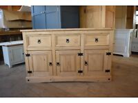 Corona 3 Door 3 Drawer Sideboard Large Mexican Solid Pine