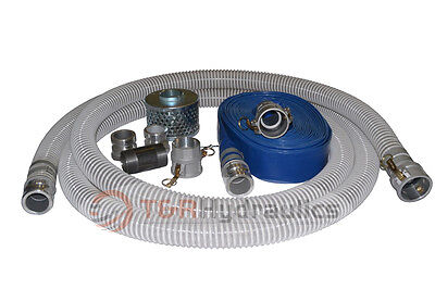 2 Flex Water Suction Hose Trash Pump Honda Complete Kit W100 Blue Disc