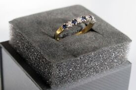 18ct gold diamond and blue sapphire half eternity ring in UK size Q
