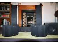 Set of high quality surround sound speakers, Monitor Audio, B&W + REL