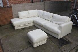 Cream Leather Corner Sofa with Foot stool