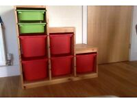 Ikea wooden storage unit and crates
