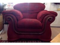 Armchair, good condition, red.