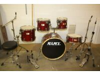 Mapex M Series Cherry Red Lacquered 5 Piece Full Drum Kit (22in Bass) + Stands + Stool + Cymbal Set