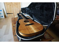 APC WG 300 CW Electro Acoustic guitar, Solid Koa and African Blackwood BACK REPAIR w/ Gator hardcase