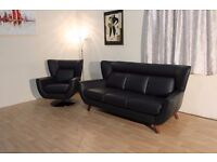 Ex-display P.K black leather Merrywood 3 seater sofa and Merry-go-round swivel armchair