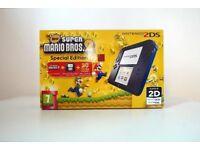 NINTENDO 2DS BLACK AND BLUE + SUPER MARIO BROS 2 NINTENDO 3DS Special Edition £60