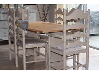 Shabby chic solid pine farmhouse style dining table and 6 chairs