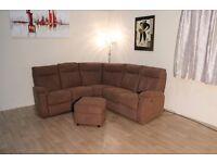 Ex-display Jemima brown fabric electric recliner corner sofa and footstool