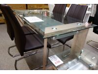 New oak effect & glass Dining Table with 4 chairs get it today only £349 NEW & BOXED